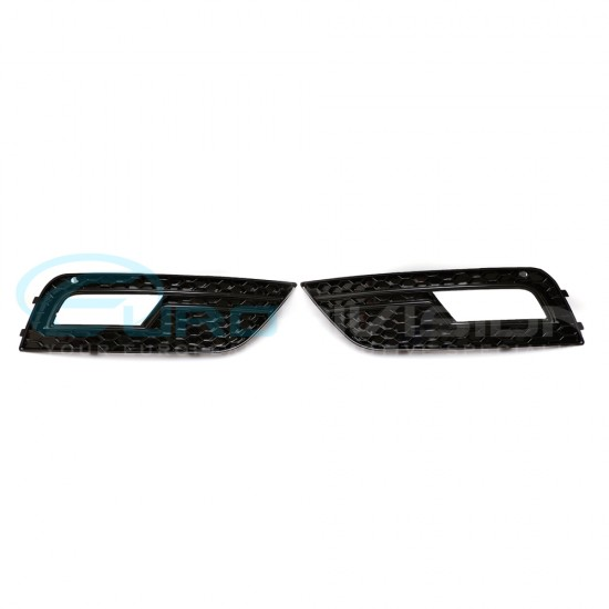 Audi A4 B8 Facelift RS Style Gloss Black Fog Grille Mesh Covers