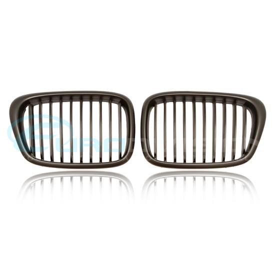 BMW 5 Series E39 Matte Black Front Grilles
