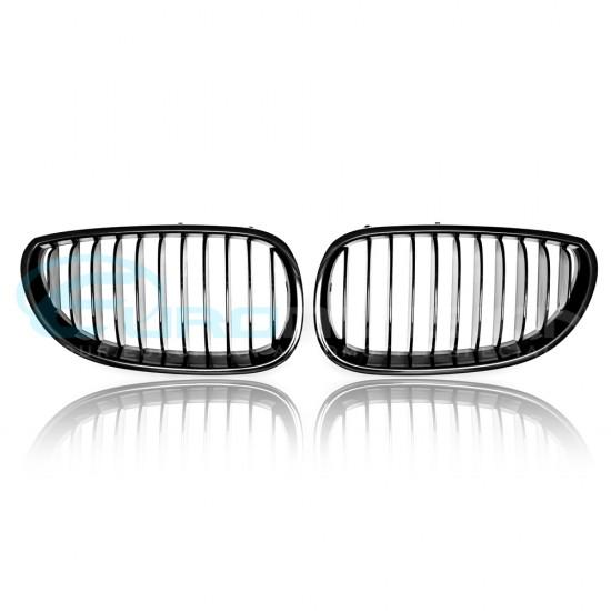 BMW 5 Series E60 Matte Black Front Grilles